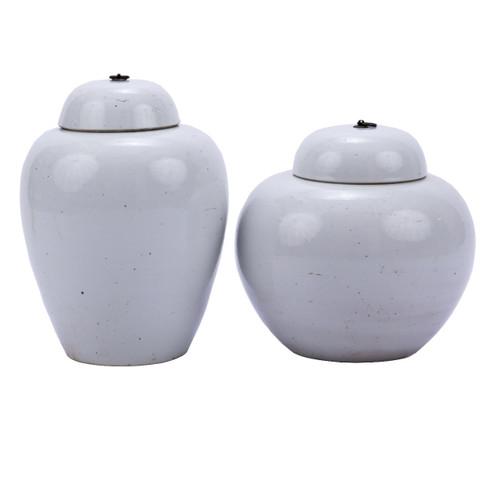 Busan White Lidded Porcelain Jar Bronze Ring - 2 Sizes