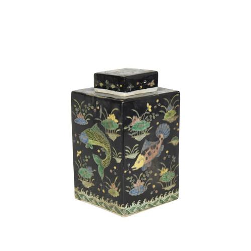 Black Square Porcelain Tea Jar Fish Motif
