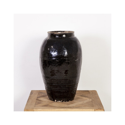 Vintage Black Pickle Porcelain Jar - Medium