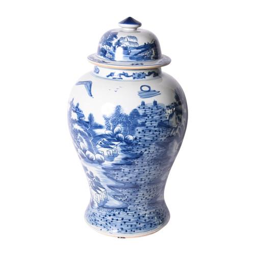 Blue & White Porcelain Temple Jar Landscape Motif