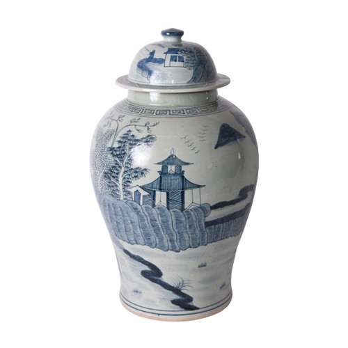 Blue And White Porcelain Temple Jar Landscape Greek Key Trim