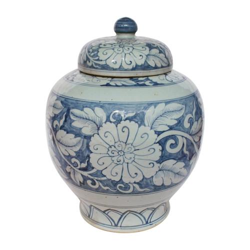 Blue And White Lidded Peony Jar