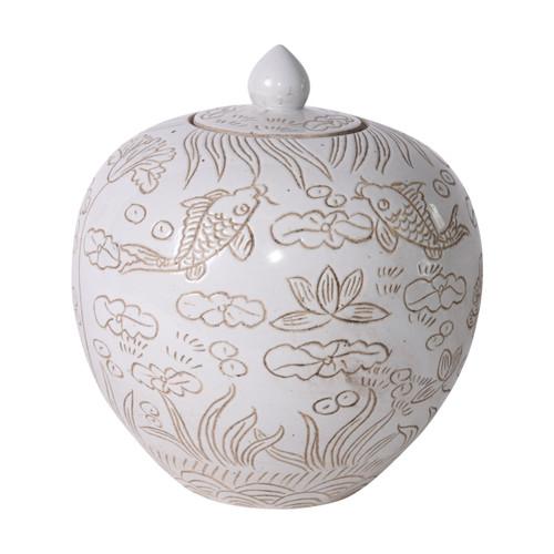 Matte White Carved Fish Melon Jar