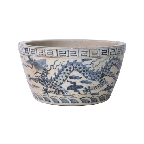 Blue And White Ming Dragon And Phoenix Bowl Planter