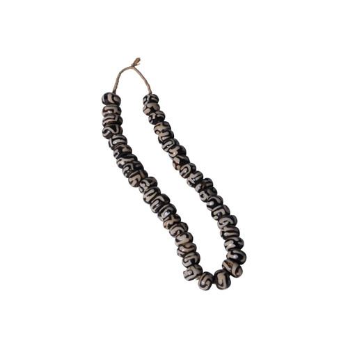 Black And White Batik Bone Bead Swirls Per String