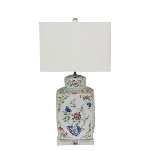 Chinoisery Floral Cylinder Tea Jar Table Lamp ( Specify Shade Choice )