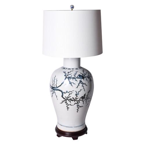 Indigo Porcelain Baluster Vase Magpie On Treetop Lamp Wooden Base