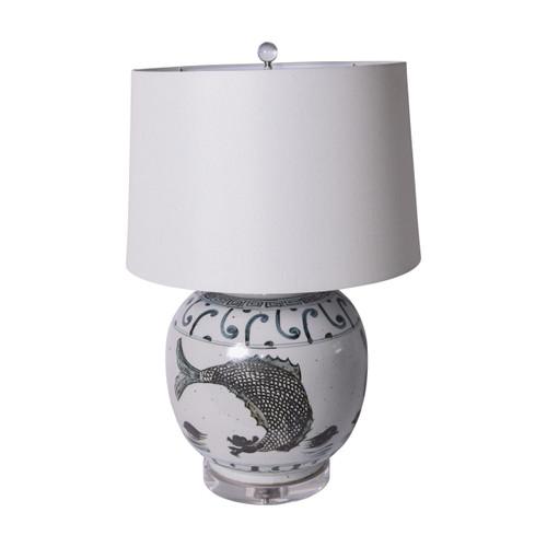 Indigo Yuan FIsh Jar Table Lamp
