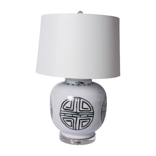 Blue And White Yuan Longevity Jar Table Lamp