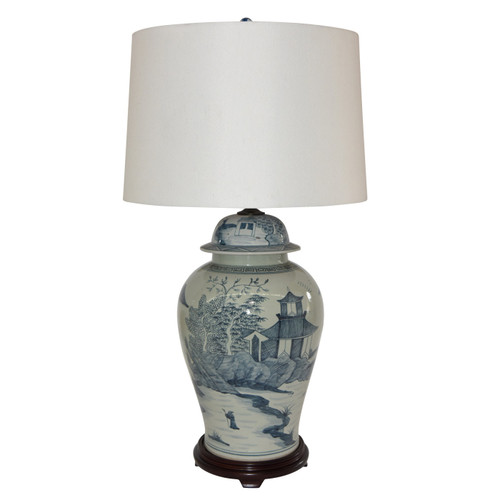 Blue And White Porcelain Landscape Temple Jar Lamp Wood Base