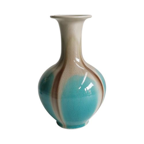 Blue Reaction Glazed Ballon Vase