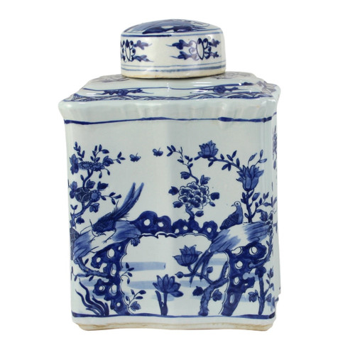 Blue And White Curved Tea Jar Bird Floral Design