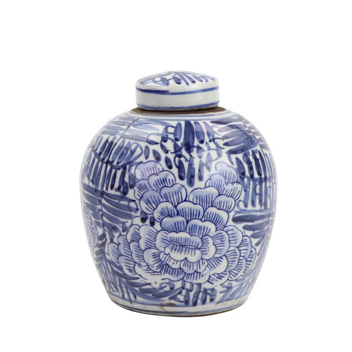 BW Tiny Lid Mini Jar Blue Blooming Flower