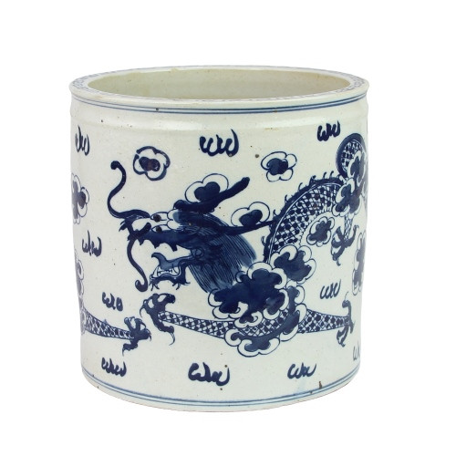 Blue And White Orchid Pot Dragon Motif