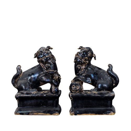 Pair of Black Peking Lion Statues