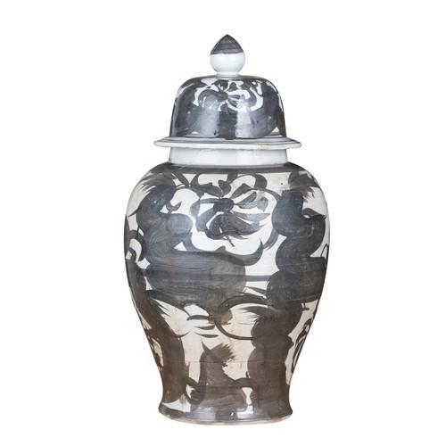 Black Porcelain Silla Flower Temple Jar