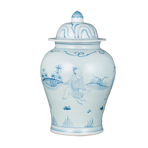 Blue White Porcelain Temple Jar Old Man Motif