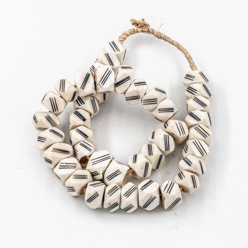 White Diamond Triple Lines Kenya Cow Bone Beads Per String