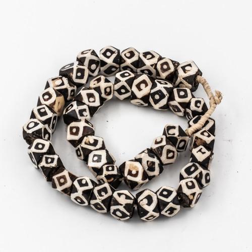 Black Diamond Evil Eyes Kenya Cow Bone Beads Per String