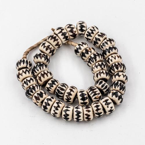 Brown Chevron Kenya Cow Bone Beads Per String