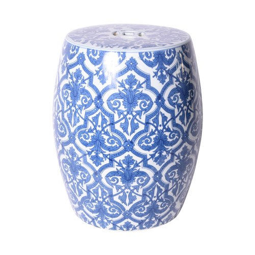 Blue And White Paris Floral Garden Stool