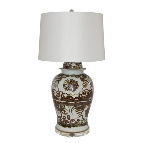 Brown Silla Flower Porcelain Temple Jar Lamp