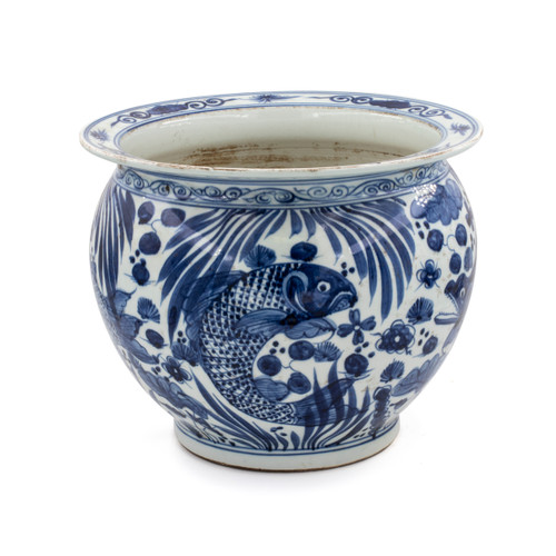Blue And White Porcelain Pot Planter Fish Motif
