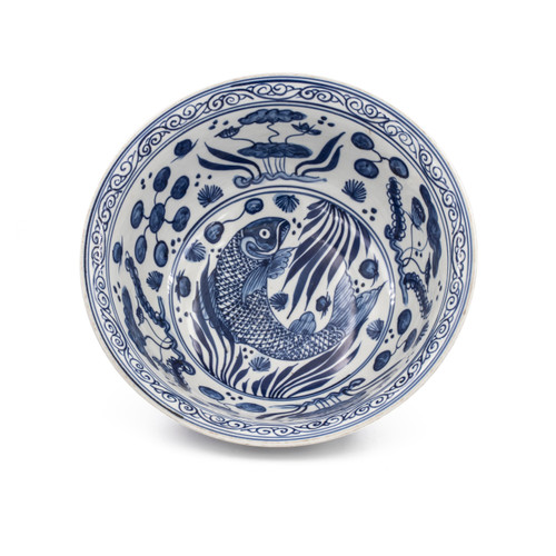 Blue And White Fish Lotus Bowl