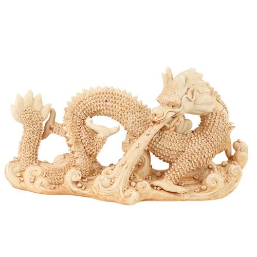 Distressed White Sea Dragon Statue