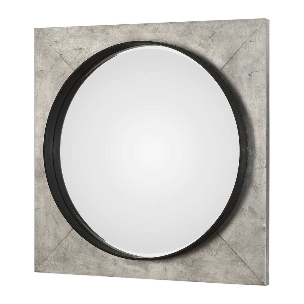 uttermost Solomon metallic silver large square wall mirror bullseye circle industrial modern