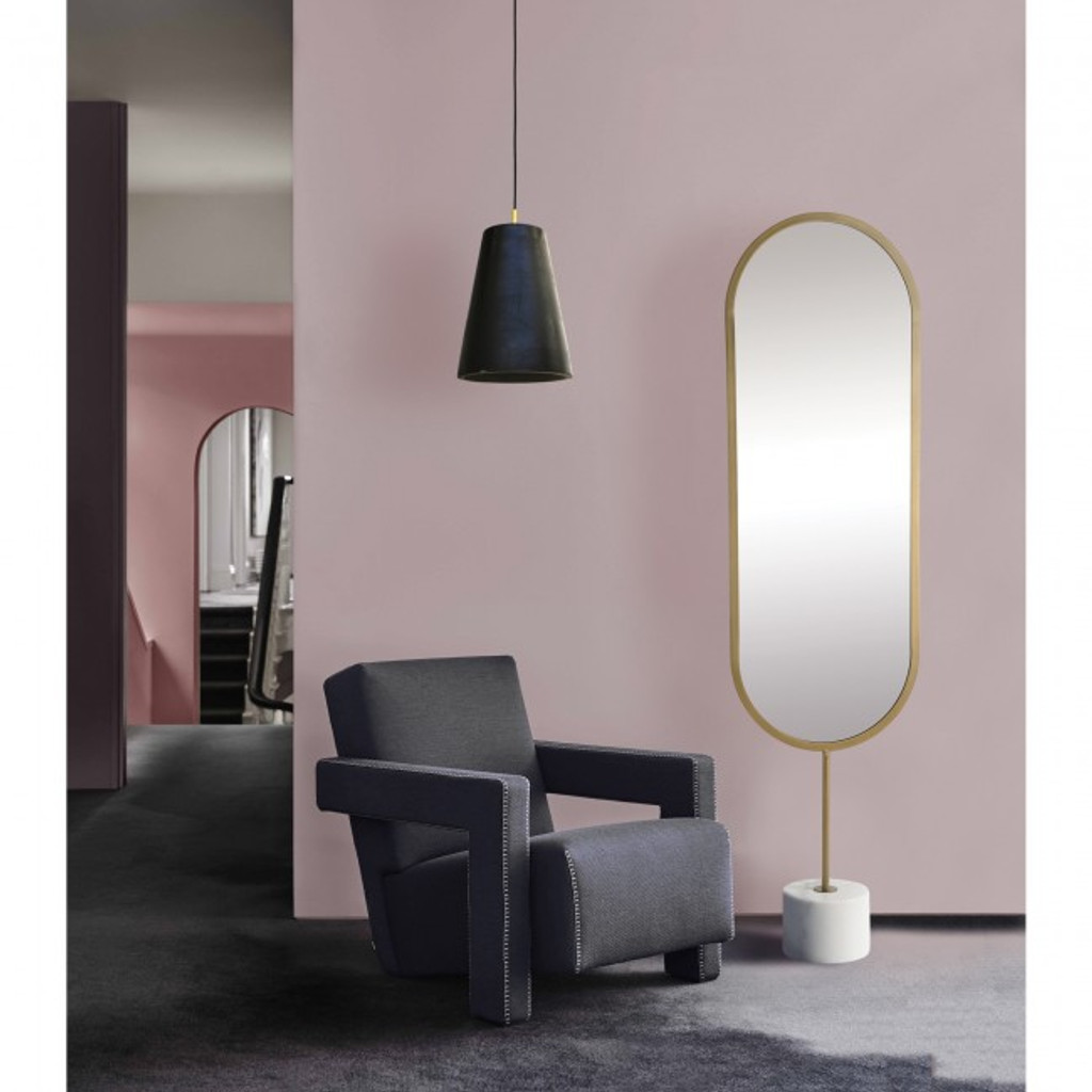 standing oval modern dressing room mirror white marble base sleek cool