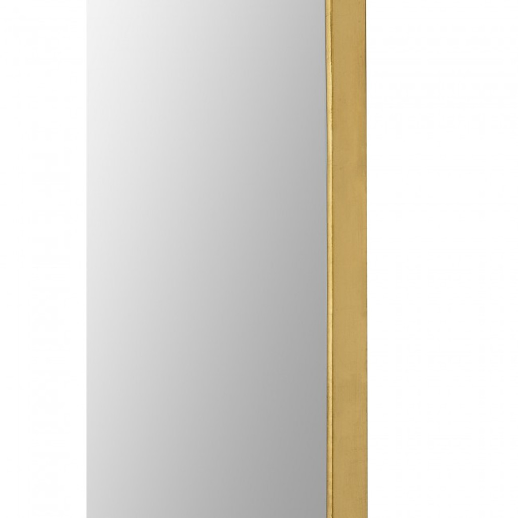 renwil marius gold leaf brass metal tall oval racetrack shape wall mirror edge frame