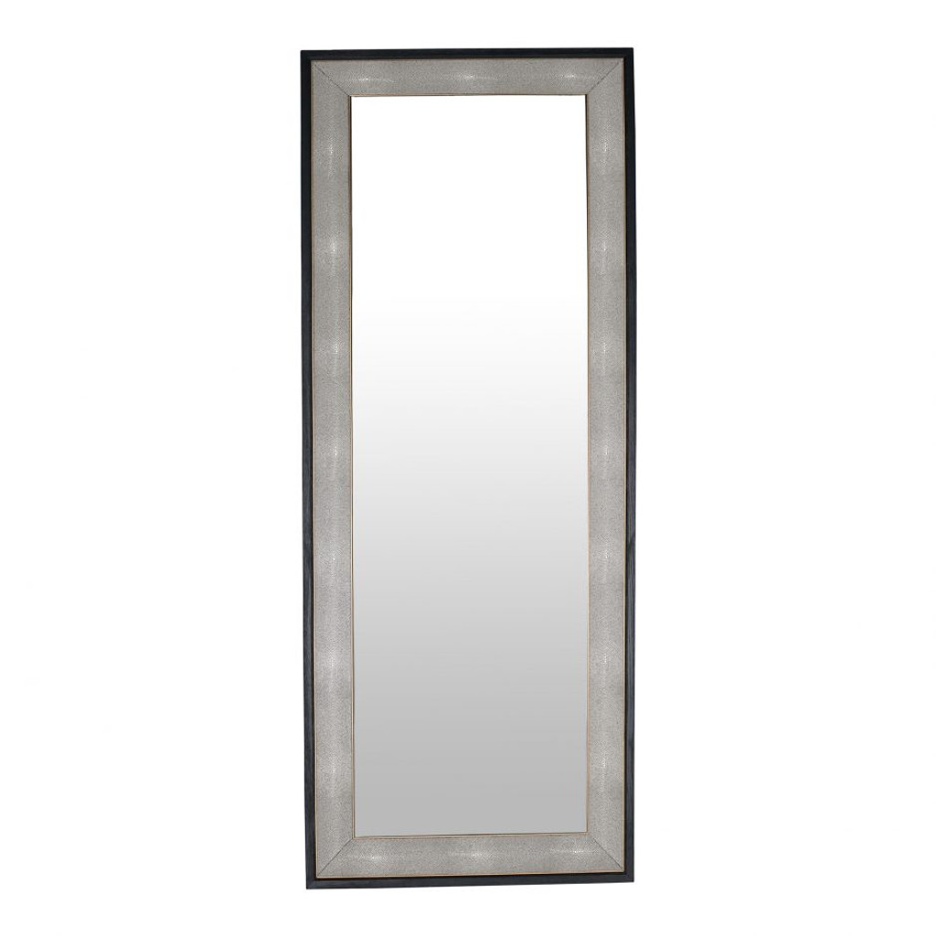 moes home collection mako floor standing black shagreen wall leaner mirror modern