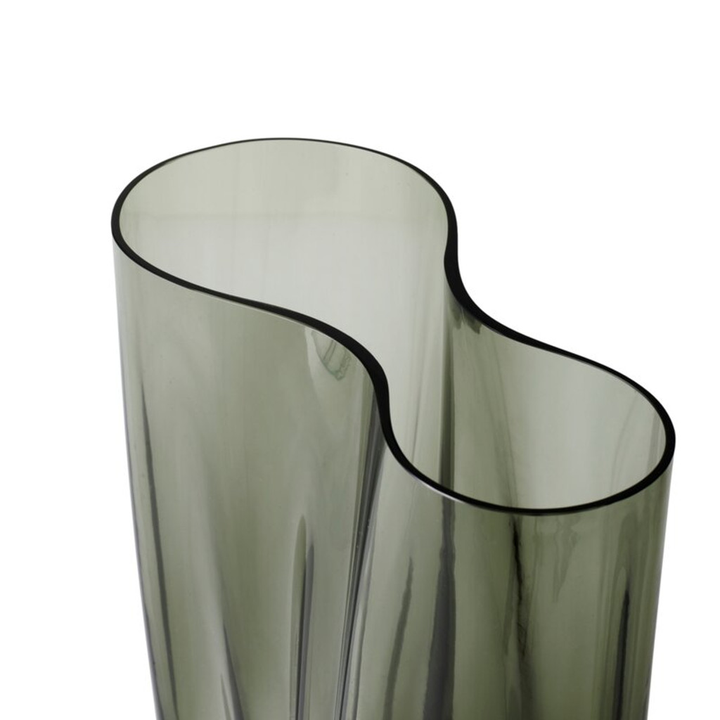modern contemporary ripple wave menu Aer Vases Smoked Glass Table Vase