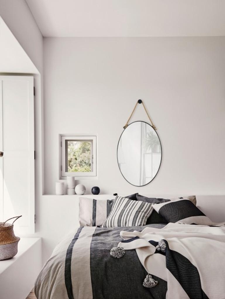 renwil parbuckle black metal modern oval wall mirror hemp rope hanging vanity bathroom