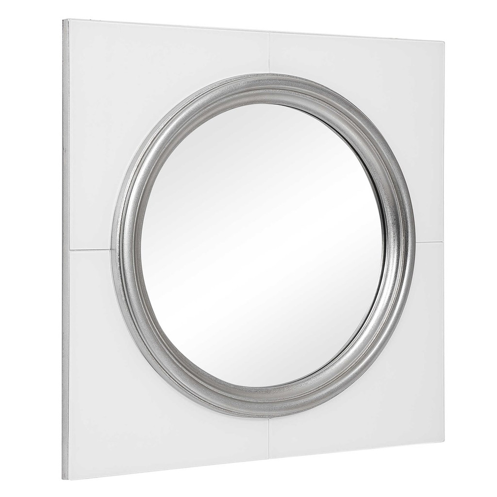 uttermost Gouveia white glass silver bullseye round modern wall mirror contemporary