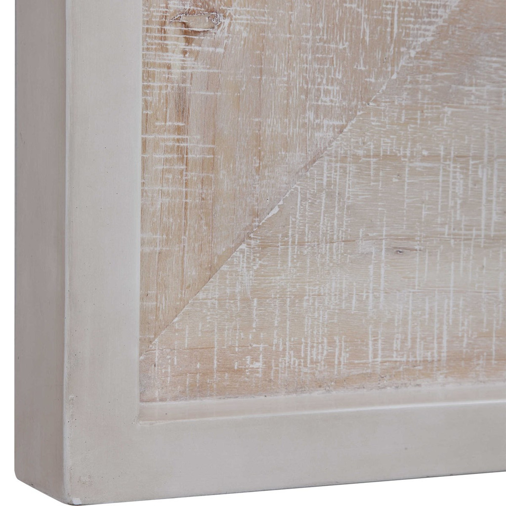Distressed Whitewashed Driftwood Square Mirror