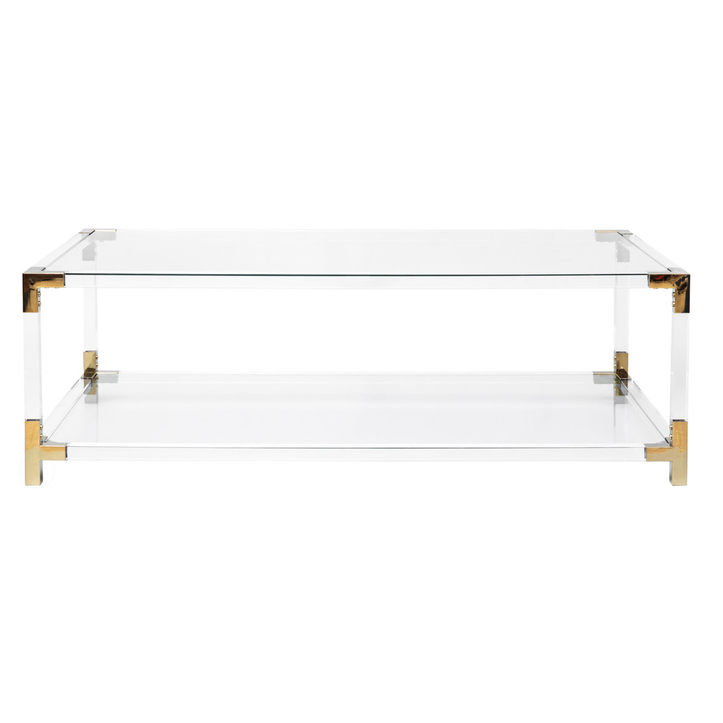 Clear Rectangular Acrylic Modern Gold Metal Coffee Table with Tempered Glass and Shelf by Bold Tones