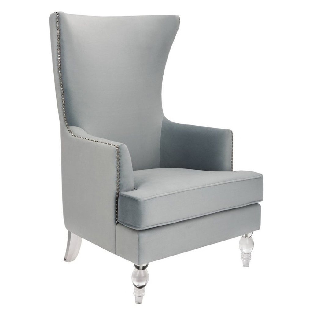 safavieh Geode Modern Wingback Chair - Light Silver clear acrylic lucite leg tall