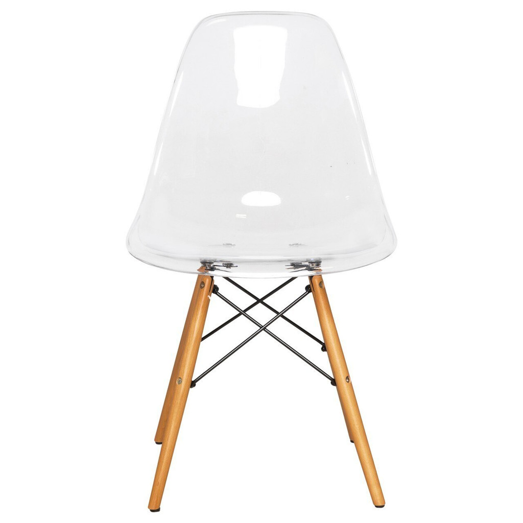 eiffel clear side chair with wood legs ghost chair