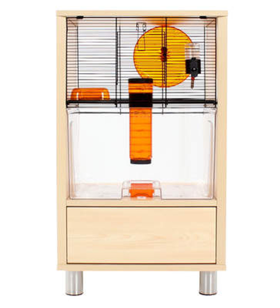 Omlet Birch Style QUTE Gerbil and Hamster Cage clear Storage modern
