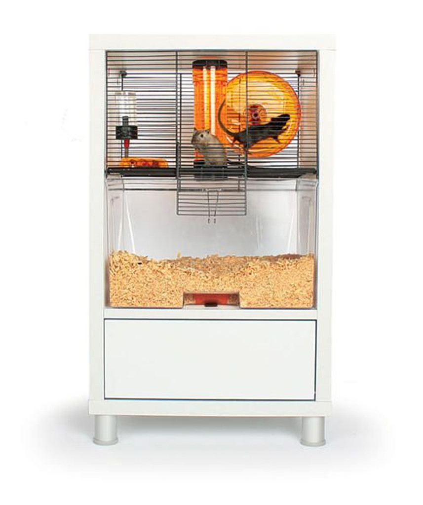 Omlet Birch Style QUTE Gerbil and Hamster Cage with Storage modern side table