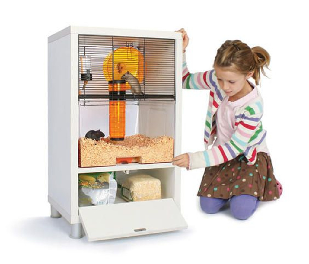 Omlet Birch Style QUTE Gerbil and Hamster Cage with Storage furniture looking house