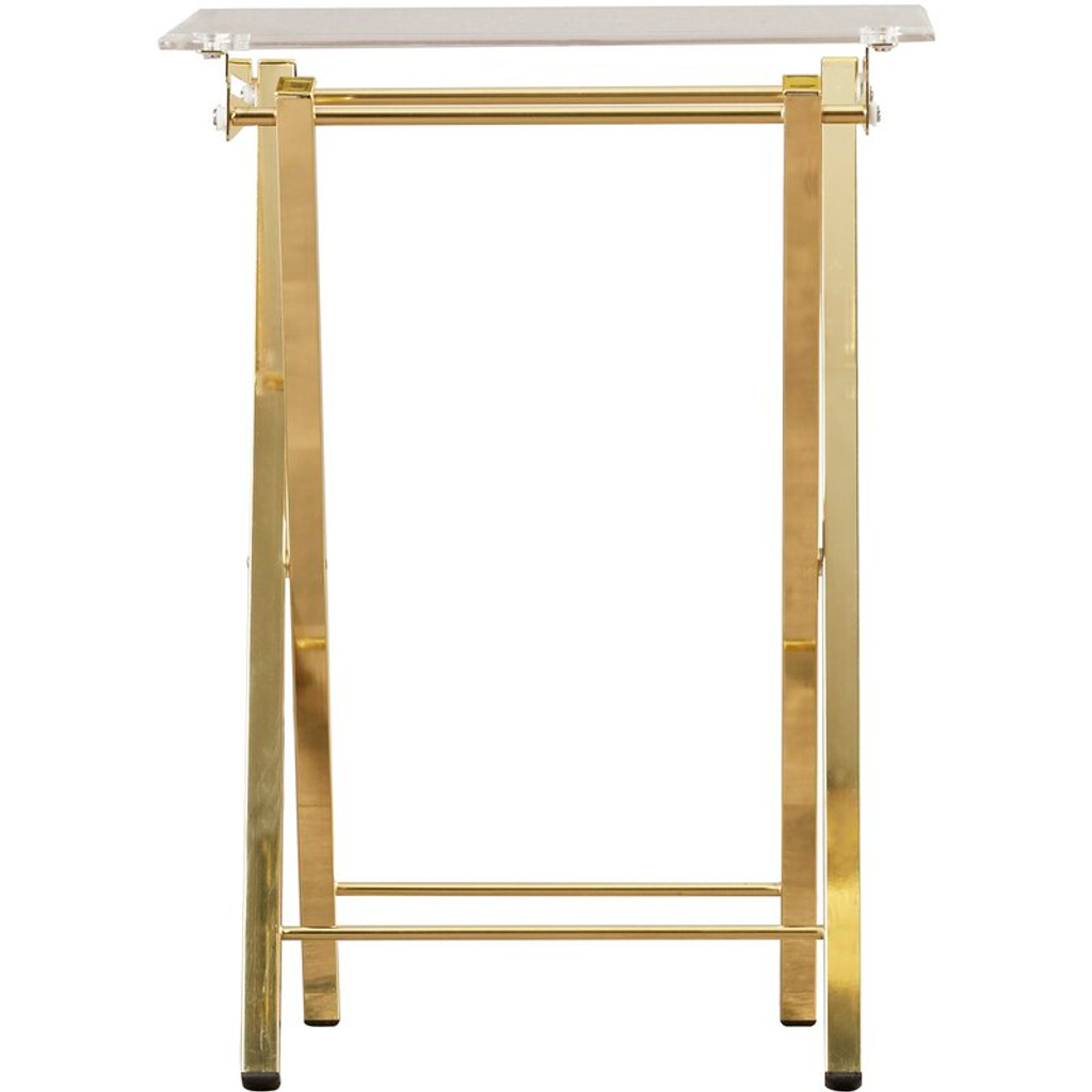 clear acrylic folding foldable breakfast tv tray table brass gold modern moveable