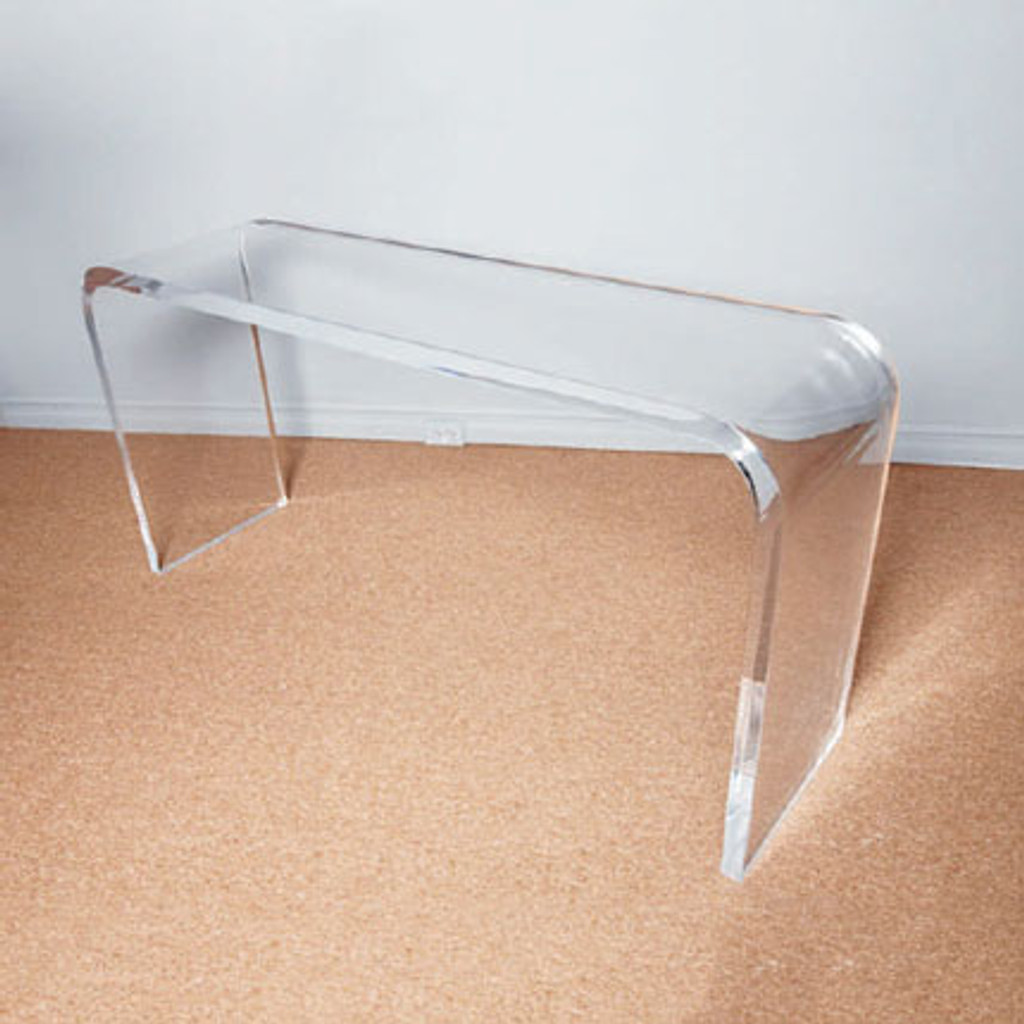 clear acrylic waterfall console table in clear lucite plastic