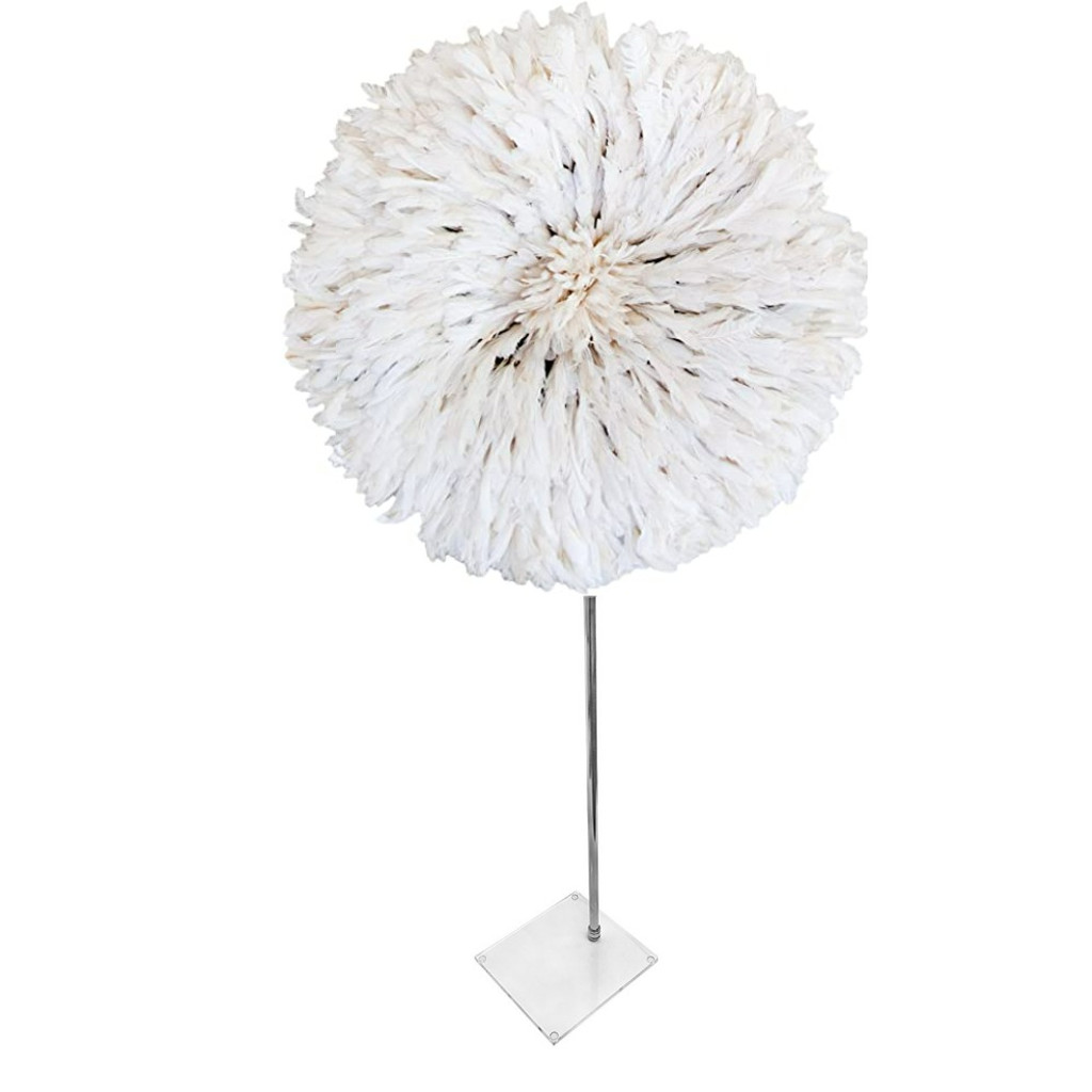 bright color juju hat feathers african round wall clear lucite acrylic decorative tabletop accessory sculpture
