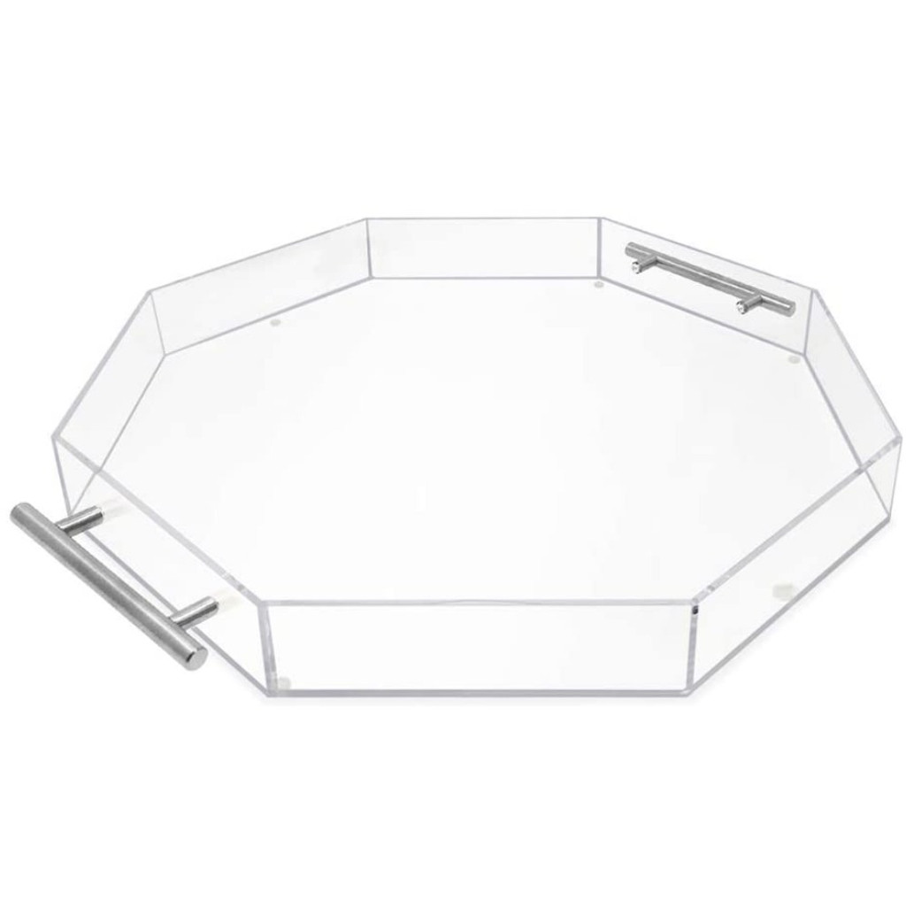 Modern Clear Lucite Tray acrylic Nickel Handles large serving make up bathroom organizer