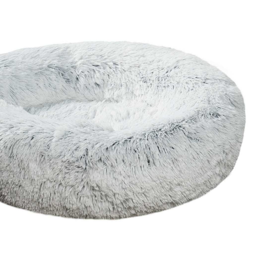 Clear Acrylic Small lucite modern Round Pet Bed with Grey Cushion