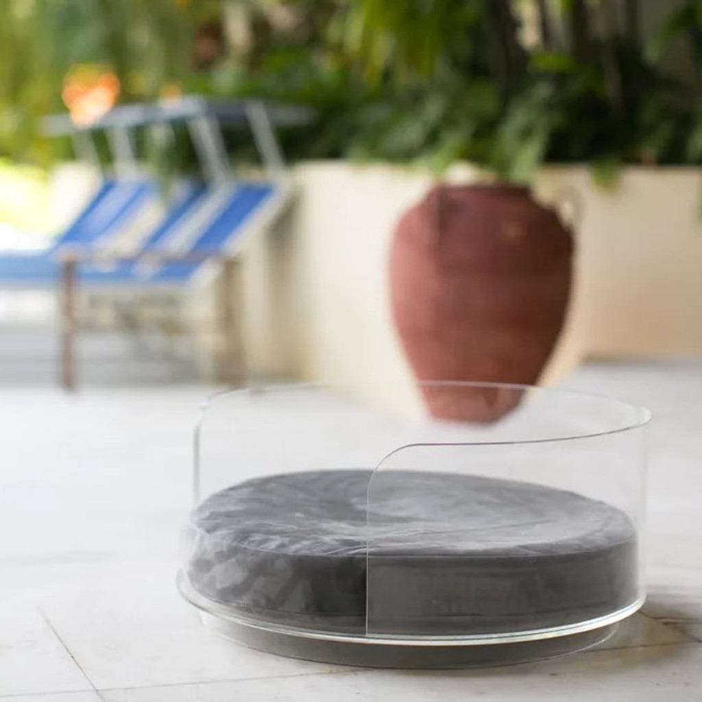 Clear Acrylic modern lucite Small Round Pet Bed with Grey Cushion