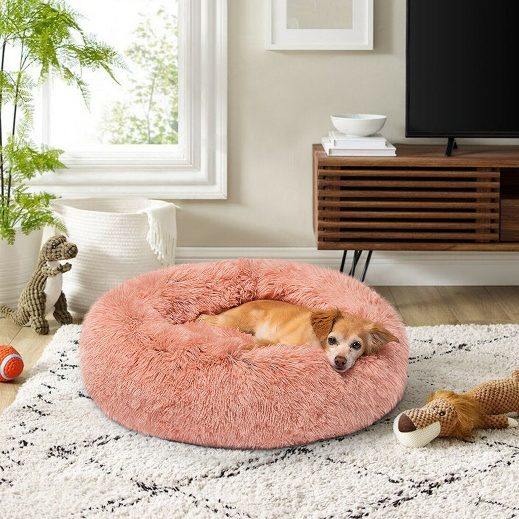 Clear Acrylic modern lucite Small Round Pet Bed with pink Cushion
